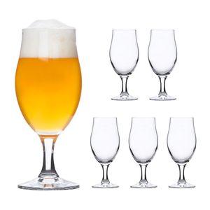 Rocco 6er-Set Bierglas Executive 0.3L edle Bier-Tulpe Stiel-Gläser Cocktail-Becher Glas Kelche