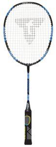 Talbot Torro Lern-Badmintonschläger ELI Junior, verkürzte Länge 58 cm, Lerngriff, Tropfenkopf, ideal für Schulsport und Training, schwarz-gelb-blau