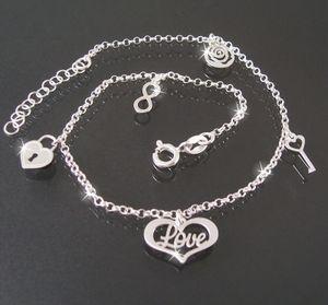 Fußkette Kette 925er Silber 24-27cm Bettelkette Liebe Herz 22320-27