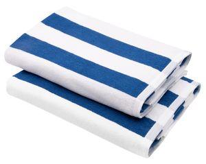 2er Set Badetuch Saunatuch, 70x180 cm,  blau gestreift, 100% Baumwolle