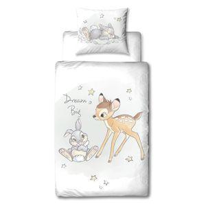 Bambi Kinder-Bettwäsche 80x80 + 135x200 cm · Disney Mädchen-Bettwäsche in Flanell / Biber · 100% Baumwolle