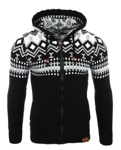 Reslad Herren Grobstrick Norweger Winter Strickjacke mit Kapuze RS-3104  Schwarz-Weiß S