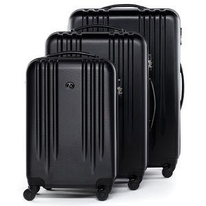 FERGÉ 3er Kofferset Marseille ABS Dure-Flex schwarz 3er Hartschalenkoffer Roll-Koffer 4 Rollen Kofferset Hartschale 3-teilig