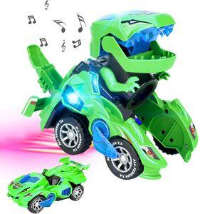 Transforming Dinosaur Led Car, Transformers Spielzeug Mit Licht Und Soundfunktion, Dinosaurier Transformator Auto Spielzeug, Mädchen Und Jungen