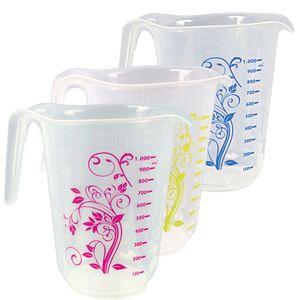 Messbecher 1 Liter, d= 13 cm, Höhe= 16 cm, Transparent mit farbigem floralem Nachbildung, Polypropylen