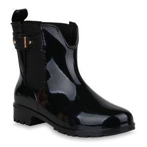 Mytrendshoe Damen Stiefeletten Gummistiefel Schnallen Profilsohle Schuhe 818968, Farbe: Schwarz, Größe: 37