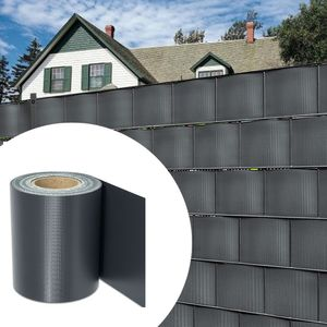 VINGO PVC Sichtschutzstreifen Doppelstabmatten Zaun Gartenzaun Sichtschutz Anthrazit PVC Sichtschutzfolie fuer Doppelstabmattenzaun