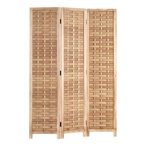 Homestyle4u 2020, Paravent Raumteiler Holz Natur Braun 3 teilig Rattan Trennwand Sichtschutz