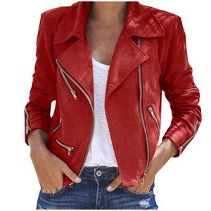 Damen Winter Damen Vintage Zipper Bomberjacke Casual Coat Outwear Größe:XL,Farbe:Rot