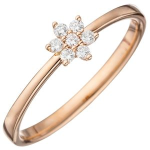 JOBO Damen Ring 54mm 585 Gold Rotgold 7 Diamanten Brillanten Diamantring Rotgoldring