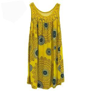 Damenmode Lace Stitching Print Ärmelloses Kleid Größe:XL,Farbe:Gelb