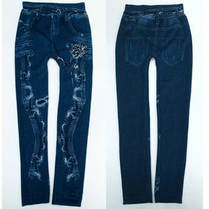 GKA Winterleggings Jeans TOP2 Gr. 98/104 gefüttert Mädchen Warme Thermo Leggings Winter Jeans Optik Plüsch