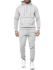 Herren Zweiteiler Tracksuit Trainingsanzug Jogginganzug Hoodie Casual, Farben:Grau, Größe Hosen:XL