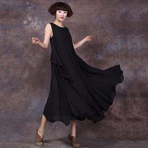 Frauen Sommerkleid aermellosen O-Ausschnitt Langes Maxikleid Lose Plus Size Kleid (XL)