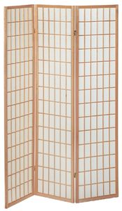 Haku Paravent, natur - Maße: 131 cm x 2 cm x 179 cm; 34364