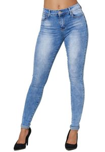 Damen Denim Stretch Jeans High Waist Slim Fit Röhrenjeans Schmale Push Up Hose Bein Umschlag, Farben:Blau, Größe:38