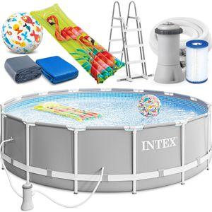INTEX 457x107 cm Prism Metal Frame Swimming Pool Schwimmbecken 26724 Komplett-Set mit Extra-Zubehör wie: Luftmatratze und Strandball