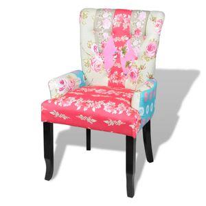 【Neu】Sessel Französischer Stuhl mit Patchwork-Design StoffMöbel-Stühle-Sessel im Landhaus-Stil
