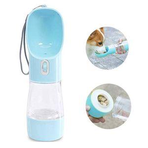 2 in 1 Hund Wasserflasche, Wasser und Nahrung Flasche Haustier Katze Travel Trinkflasche Tragbare Reise Trinkflasche Wasserspender für Unterwegs Outdoor