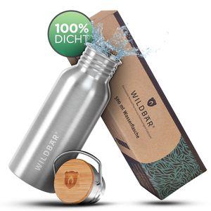 WILDBÄR® ♻️ - NEU - Dichte Premium Edelstahl Trinkflasche 500ml ideal für Schule, Sport, Uni oder Outdoor, BPA-frei, kompakte einwandige Bauweise mit Bambus-Deckel, nachhaltig, ökologisch ♻️