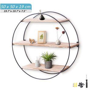 Sunnyme Wandregal aus Eisen und Holz Rundes Schweberegal mit 3 Platte für Wohnzimmer und Flur Industrie-Design