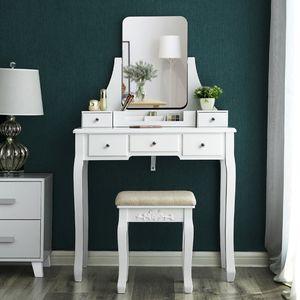 VASAGLE Schminktisch mit Spiegel & Hocker | 137,5 x 80 x 40 cm moderne Kosmetiktisch mit 5 Schubladen Frisiertisch weiß RDT25WT