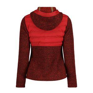 Torstai Jacke Damen mit Kapuze Warmer Midlayer-Hoodie aus dickem Strickgewebe, Farbe:Rot, Damen Größen:XL
