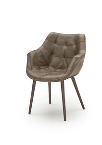 Vierfuß-Armlehn-Stuhl_WK 7007 Leder Buffalo matt lampre