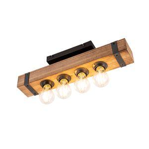 QAZQA - Industrie | Industrial Industrie | Industrial Deckenleuchte | Deckenlampe | Lampe | Leuchte aus Holz - Reena| 4-flammig | Wohnzimmer | Schlafzimmer | Küche - Länglich - LED geeignet E27