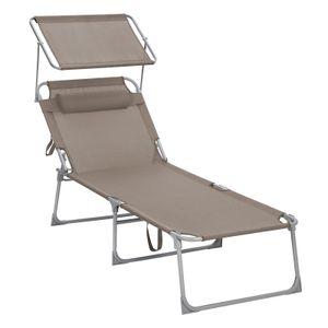 SONGMICS Sonnenliege, Liegestuhl, Gartenliege 71 x 200 x 38 cm, bis 150 kg belastbar, mit Kopfstütze und Sonnendach klappbar taupe GCB022K01
