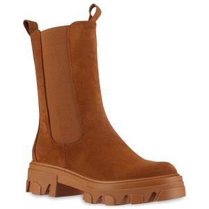 VAN HILL Damen Plateaustiefel Stiefel Blockabsatz Profil-Sohle Schuhe 837845, Farbe: Hellbraun, Größe: 39