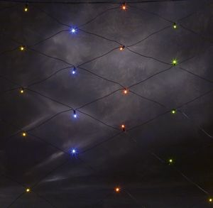 Konstsmide - LED Lichternetz, 120 bunte Dioden, 24V Außentrafo, schwarzes Kabel ; 3751-500