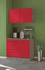 Singleküche Imola 100 cm breit in signalrot glänzend mit Kochmulde und Einbauspüle in Edelstahl
