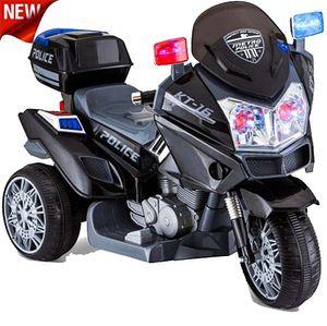 POLIZEI Motorrad Schwarz Elektro Kindermotorrad Roller Kinderfahrzeug Dreirad 12V  GROSS