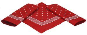 Betz 3er Pack Nickituch Bandana Richtfesttuch Halstuch, Punktemuster, Größe 55 x 55cm, 100% Baumwolle, Farbe rot