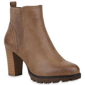 Mytrendshoe Gefütterte Chelsea Boots Damen Block Absatz Stiefeletten 812569, Farbe: Khaki, Größe: 39