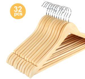ilauke Kleiderbügel aus Holz, 32 Stück Anzugbügel mit Rutschfestem Steg, 360°drehbarer Haken, Für Kleidung Anzug, Jacke, Mantel und Hose, HY1250