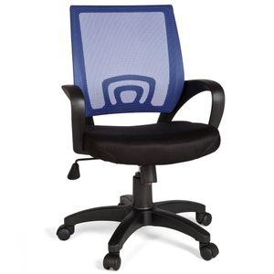 FineBuy Bürostuhl OLEG Schreibtischstuhl Stoff Drehstuhl mit Armlehne Jugend-stuhl Büro-Sessel höhenverstellbar Netz 120 KG Netz ohne Kopfstütze Wippfunktion Lendenwirbelstütze , Farbe Artikel:Blau