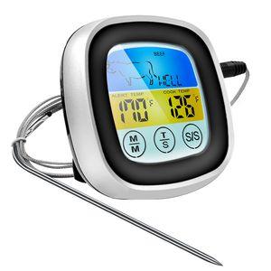 Digitales Küchenthermometer Sonde Digitale Steak Braten- & BBQ-Thermometer mit LCD Display und Timer Grillthermometer