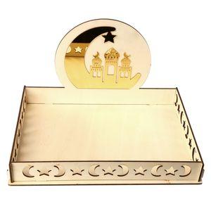 Holz Eid Ramadan Dessert Gebäck Serviertablett Mondstern Mubarak Party Serviertablett Ramadan Anzeigen Dekoration