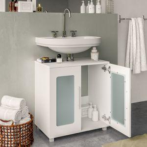 Waschtischunterschrank RAYK 60 cm Weiß - Unterschrank Badschrank Waschbecken Unterschrank