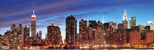 LED-Bild, Leinwandbild Wandbild Leuchtbild, Timer  120x40cm New York, flackernd