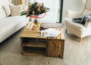 Obstkisten Couchtisch Holztisch Vintage Natur 50 x 40 x 30cm 4er SET Boden Lang