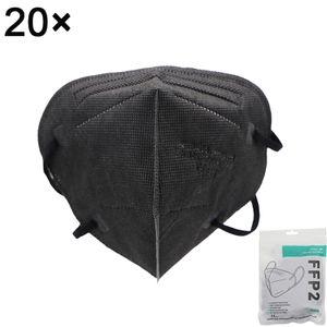 20 Stück FFP2 Schutzmasken bester Qualität, hocheffiziente Filter-Einwegmasken, CE0161, 5 Stück/Packung (schwarz)