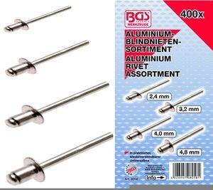 BGS 8058 Blindnieten-Sortiment, Alu, 400-tlg.