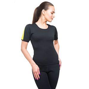 VEOFIT Damen Schwitz T-Shirt -Töne die Arme, den Bauch, Rücken und Hüften für eine straffere Haut und eine verfeinerte Silhouette- Grösse  M