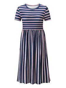 Langärmeliges, gestreiftes A-Linien-Rock-Langkleid für Damen,Farbe: Königsblau,Größe:L