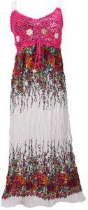 Boho Sommerkleid, Krinkelkleid, Strandkleid Hippie Chic - Weiß/pink, Damen, Viskose, Lange & Midi-Kleider