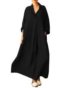 Weibliche Mode retro Baumwolle Leinen Hemd lange Rock Kleid,Farbe: schwarz,Größe:XL