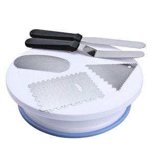6pcs Tortendekoration Tortenzubehör Werkzeug mit Drehbar Tortenständer + Teigspachtel + Küchenschneider Set